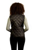 Black quilted puffer vest (womens) - back