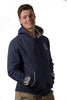 Navy Melange University of Melbourne zip hooded jacket front