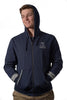 Navy Melange University of Melbourne zip hooded jacket front hood on