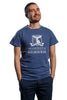 Front View of navy t-shirt with large university logo to front