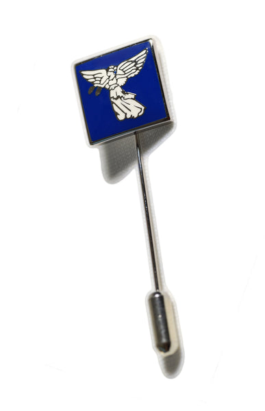 Blue and silver lapel pin with staff & base