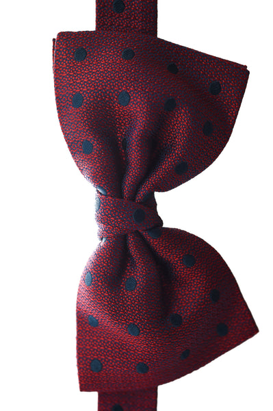 Red Silk Bow Tie with Navy Spots