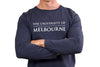 Denim blue long sleeve t shirt - word mark