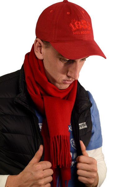 Red '1853' cap and red scarf