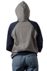 Grey/Navy University of Melbourne hoodie (Womens) wearing hood - Back