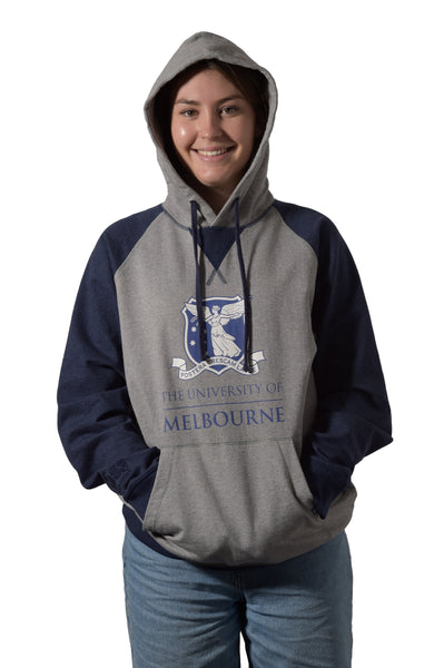 Grey/Navy University of Melbourne hoodie (Womens) wearing hood - Front