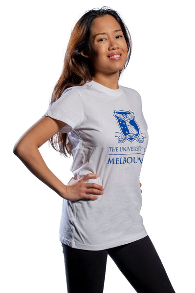Female model wearing White short sleeve t shirt with large university logo to front