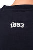 Male Navy Crew Sweater - closeup of 1853 print beneath neckline on back