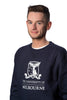 Male Navy Crew Sweater - closeup of University logo