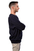 Male Navy Crew Sweater - side view