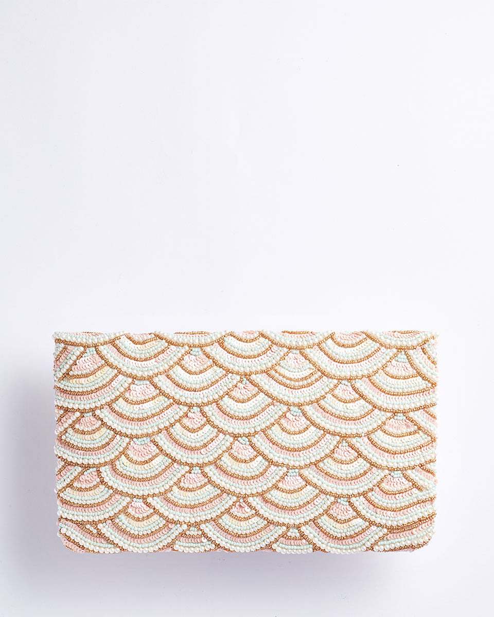 Handbeaded Clutch (Pastel Pearls and Pink Waves)