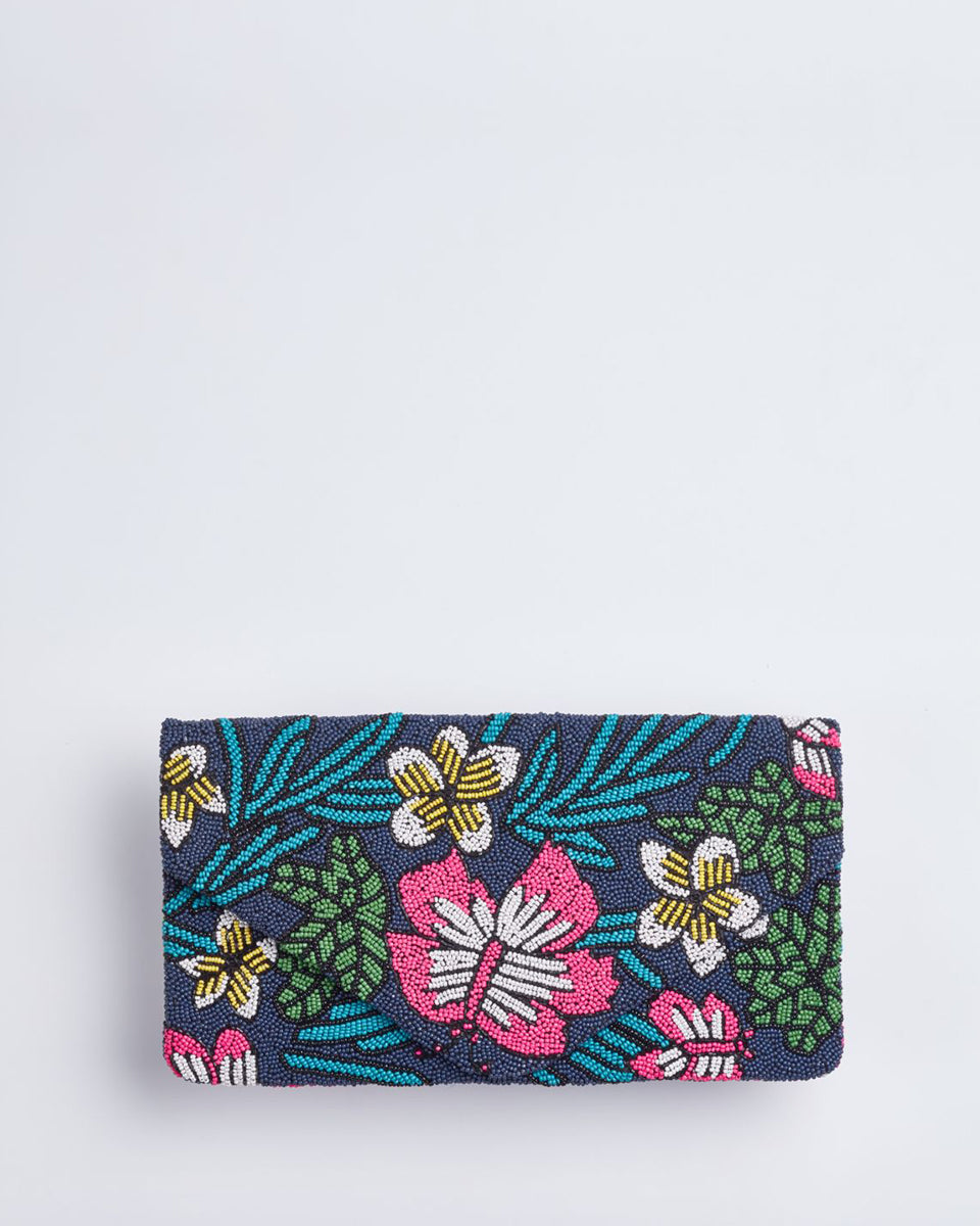 Handbeaded Clutch (Night Blooms)