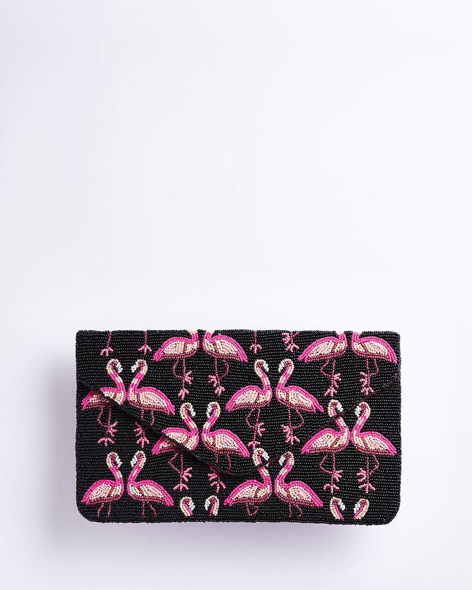 Handbeaded Clutch (Dancing Flamingoes at Night)
