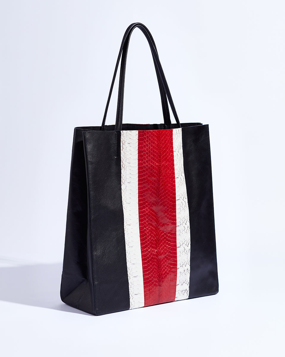 Public Holiday Tote (Cherry Red Racing Stripes)