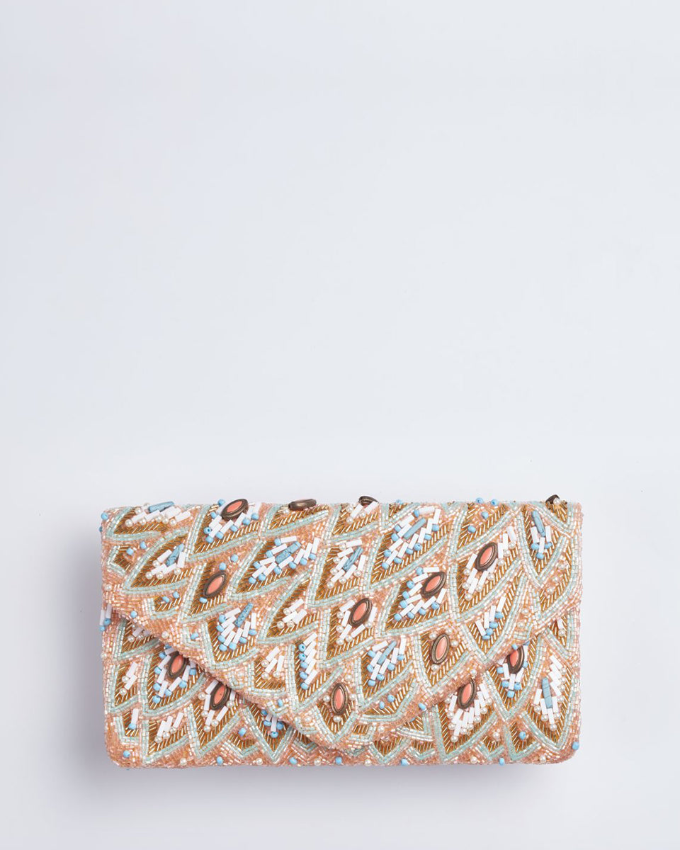 Handbeaded Clutch (Featherlite Pastel)