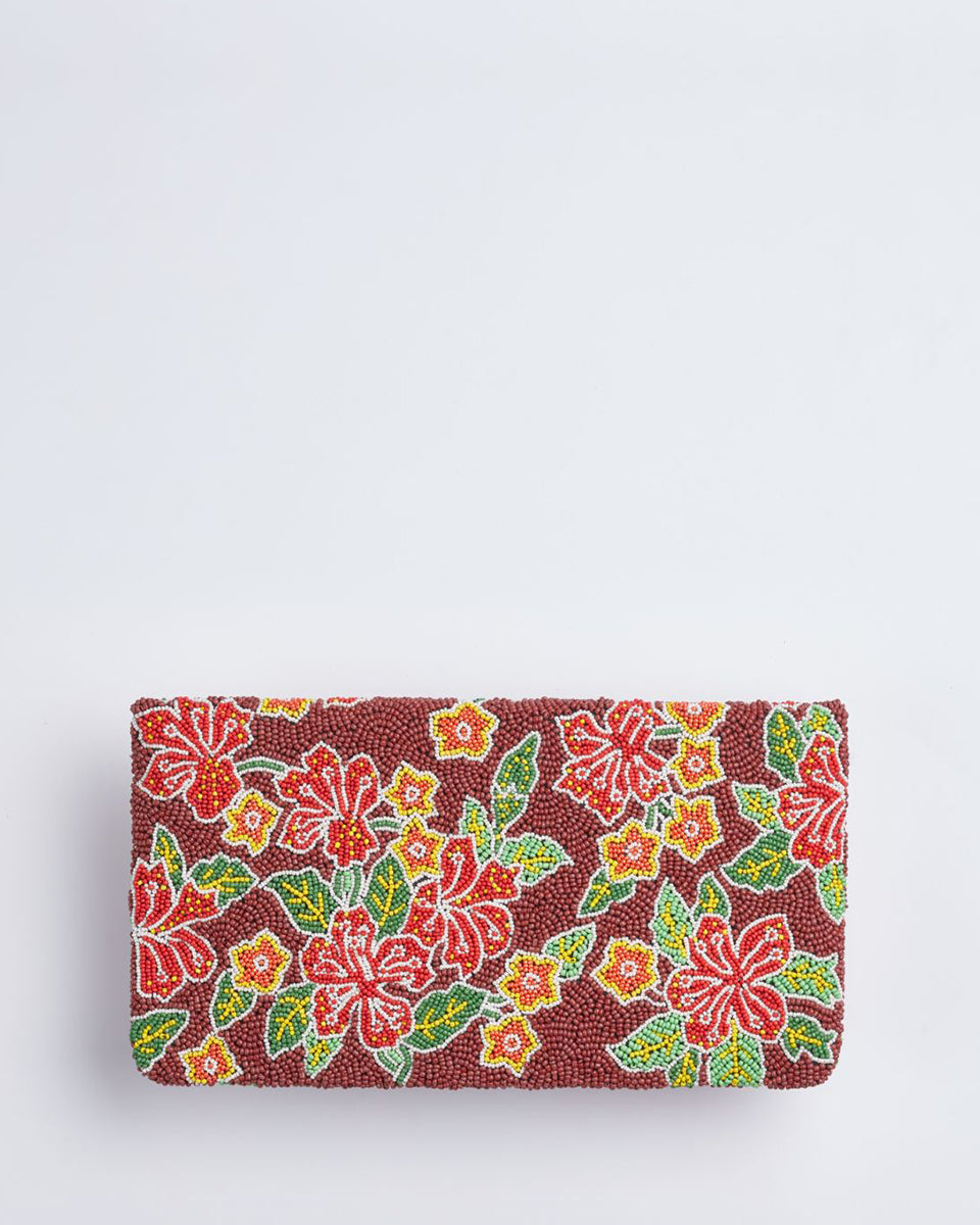 Handbeaded Clutch (Batik Hibiscus)