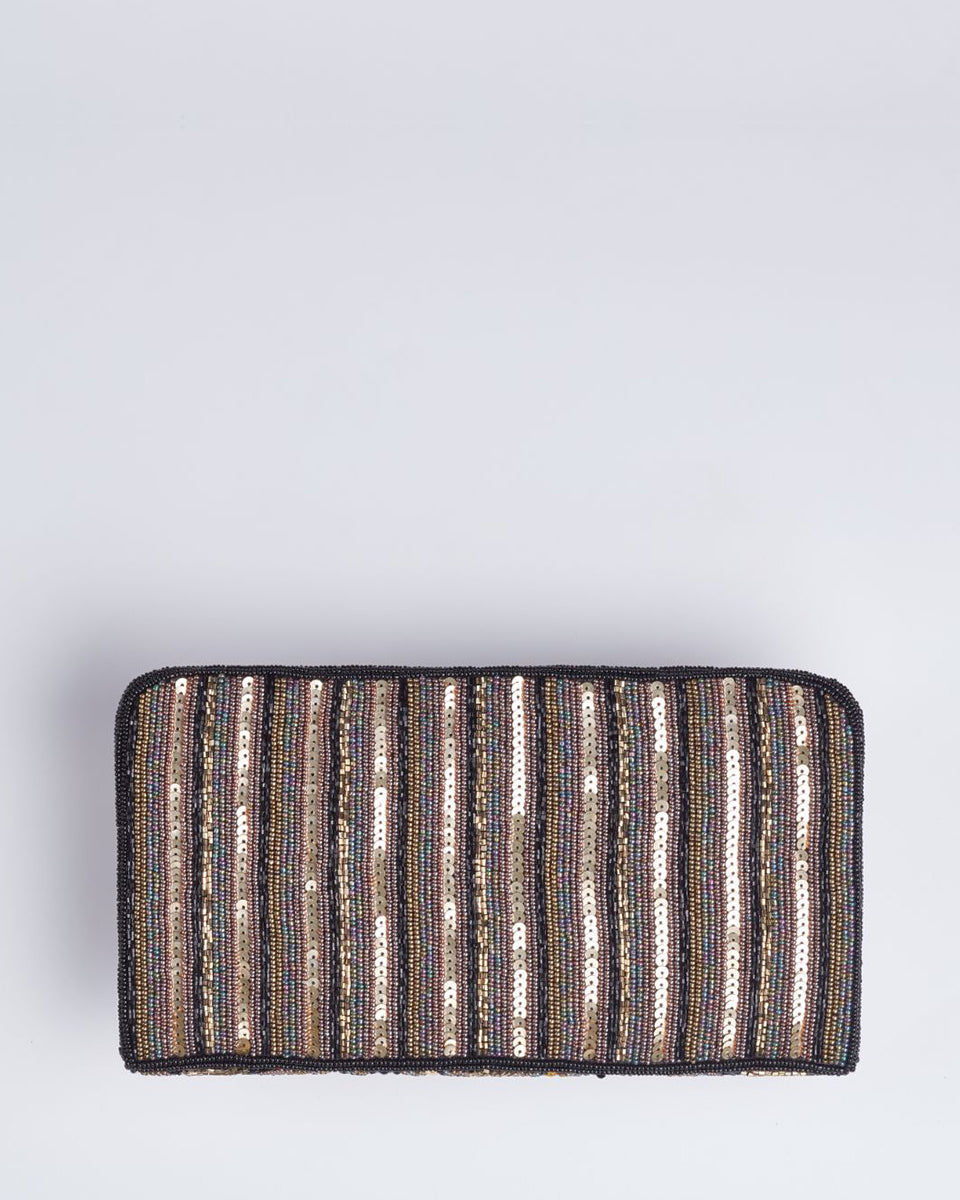 Handbeaded Clutch (Art Deco Black+Gold)