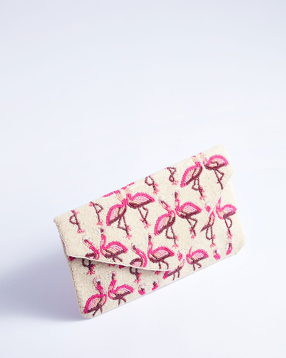 Handbeaded Clutch (Dancing Flamingoes in Snow)