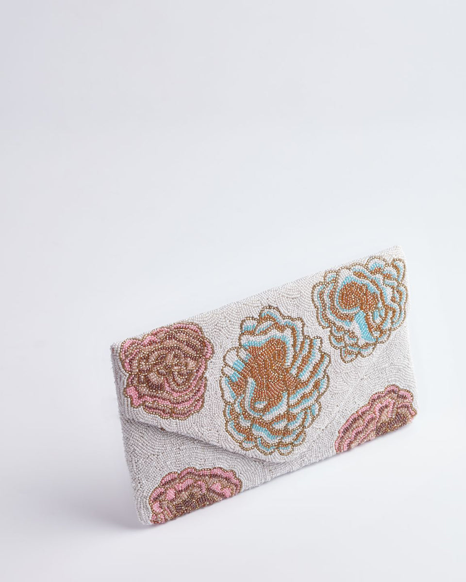 Handbeaded Clutch (Pastel Posies on Snow)