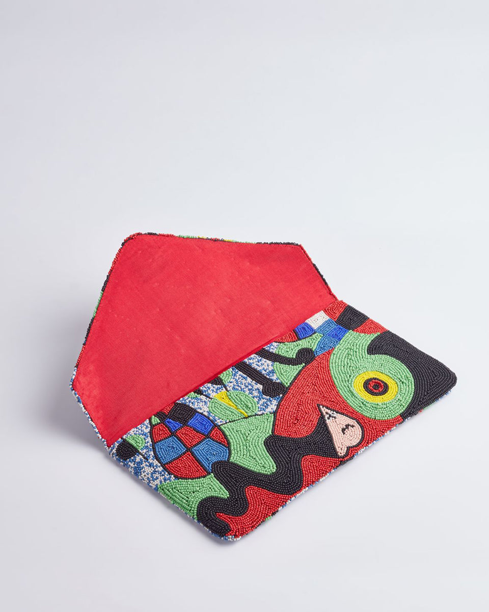 Handbeaded Clutch (The Garden by Joan Miro)