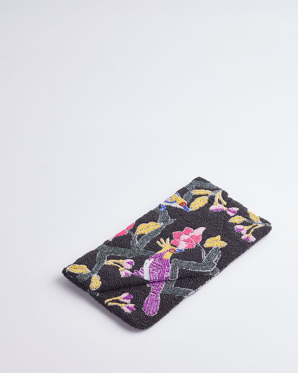 Handbeaded Clutch (Chinoiserie Pheasants and Fleurs)