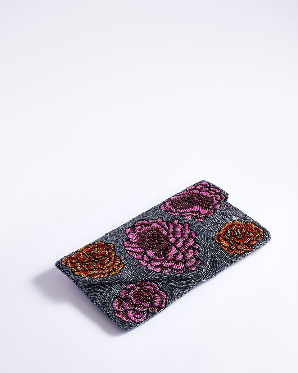 Handbeaded Clutch (Floral Metallic Wallpaper)