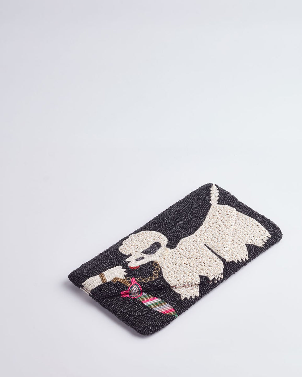 Handbeaded Clutch (French Poodle Alert)