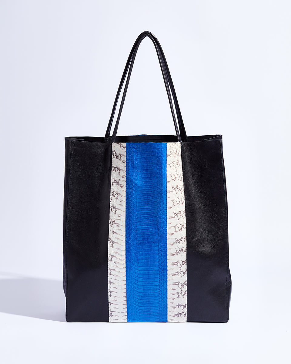 Public Holiday Tote (Cobalt Blue Racing Stripes)