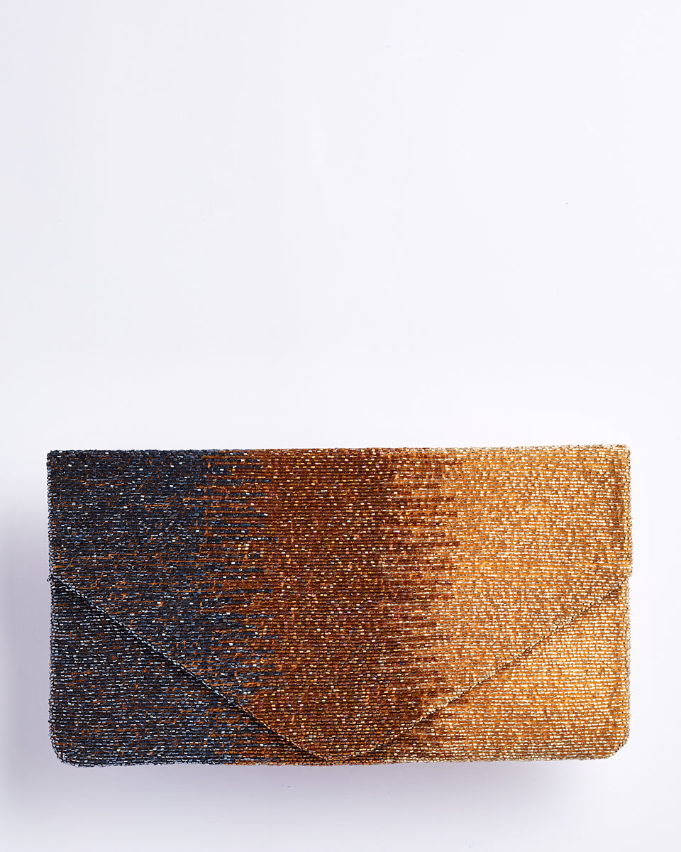 Handbeaded Clutch (Metallic Ombre Gold)