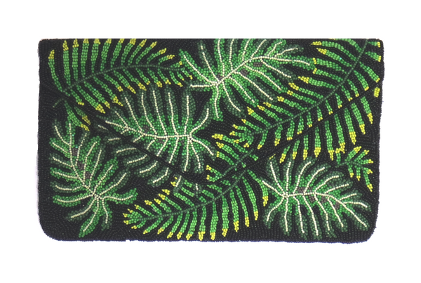 Handbeaded Clutch (Ferns on Black)