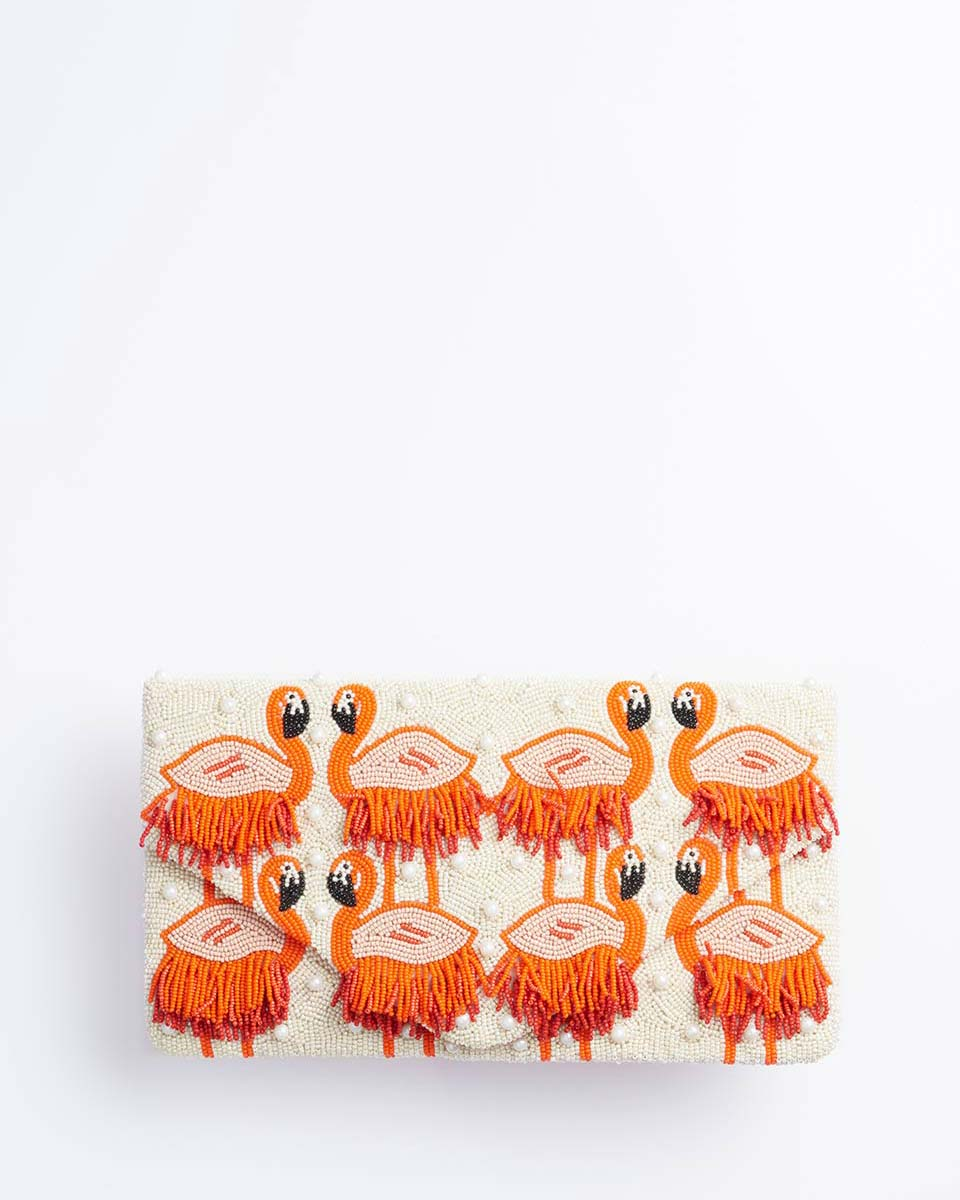 Handbeaded Clutch (Flamingo Fringe)