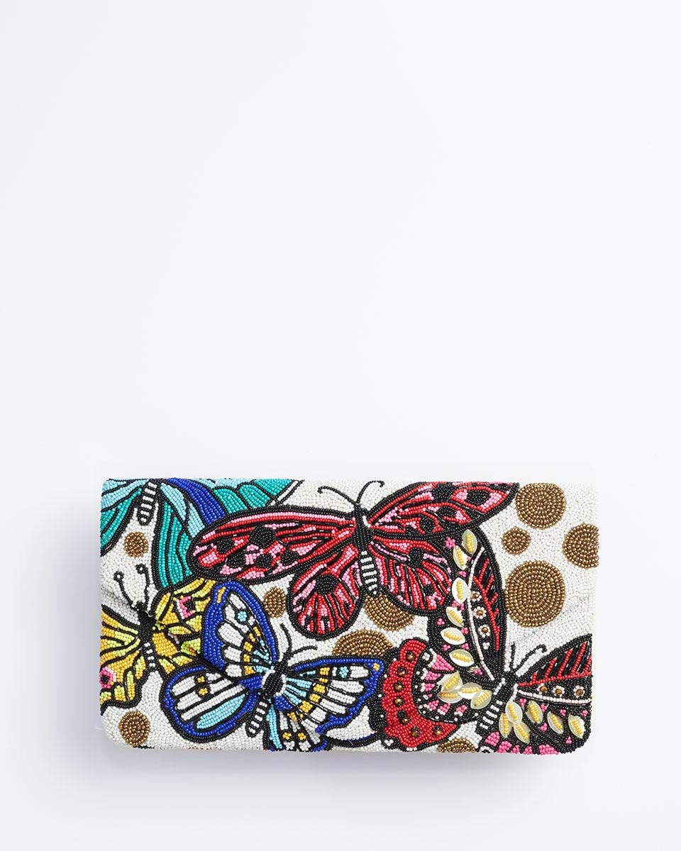 Handbeaded Clutch (Pink Butterflies at Sunset)