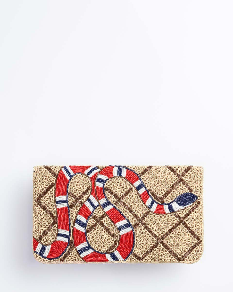 Handbeaded Clutch (Slithering Through)