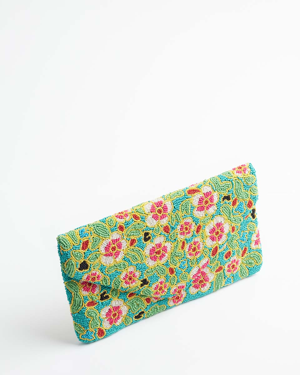 Handbeaded Clutch (Peranakan Foliage)