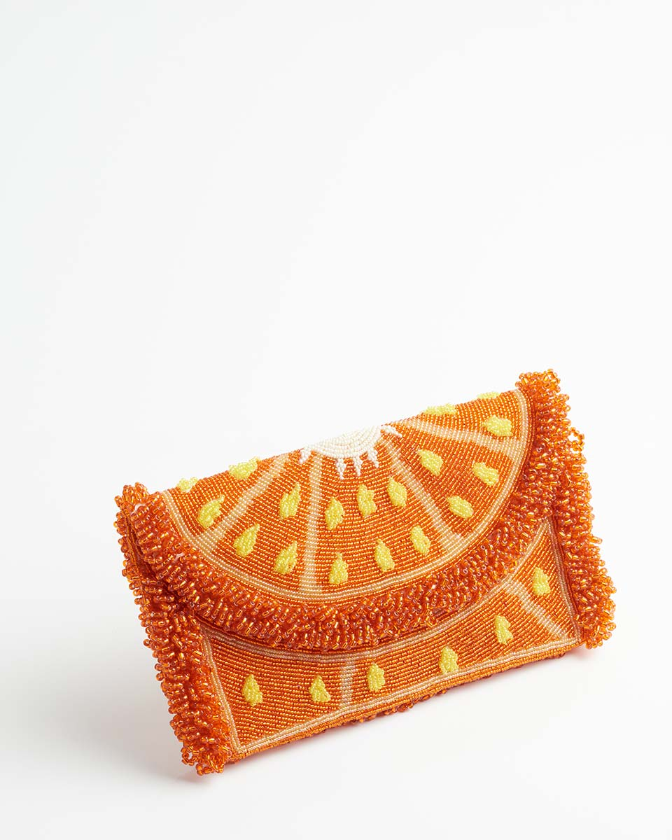 Handbeaded Clutch (Orange you Lovely)