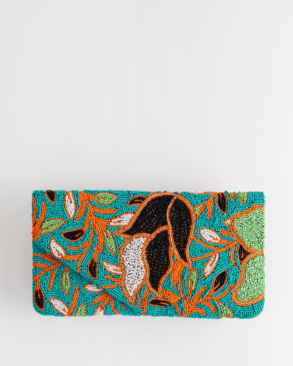 Handbeaded Clutch (Tulip Batik in Gold and Sea Foam)