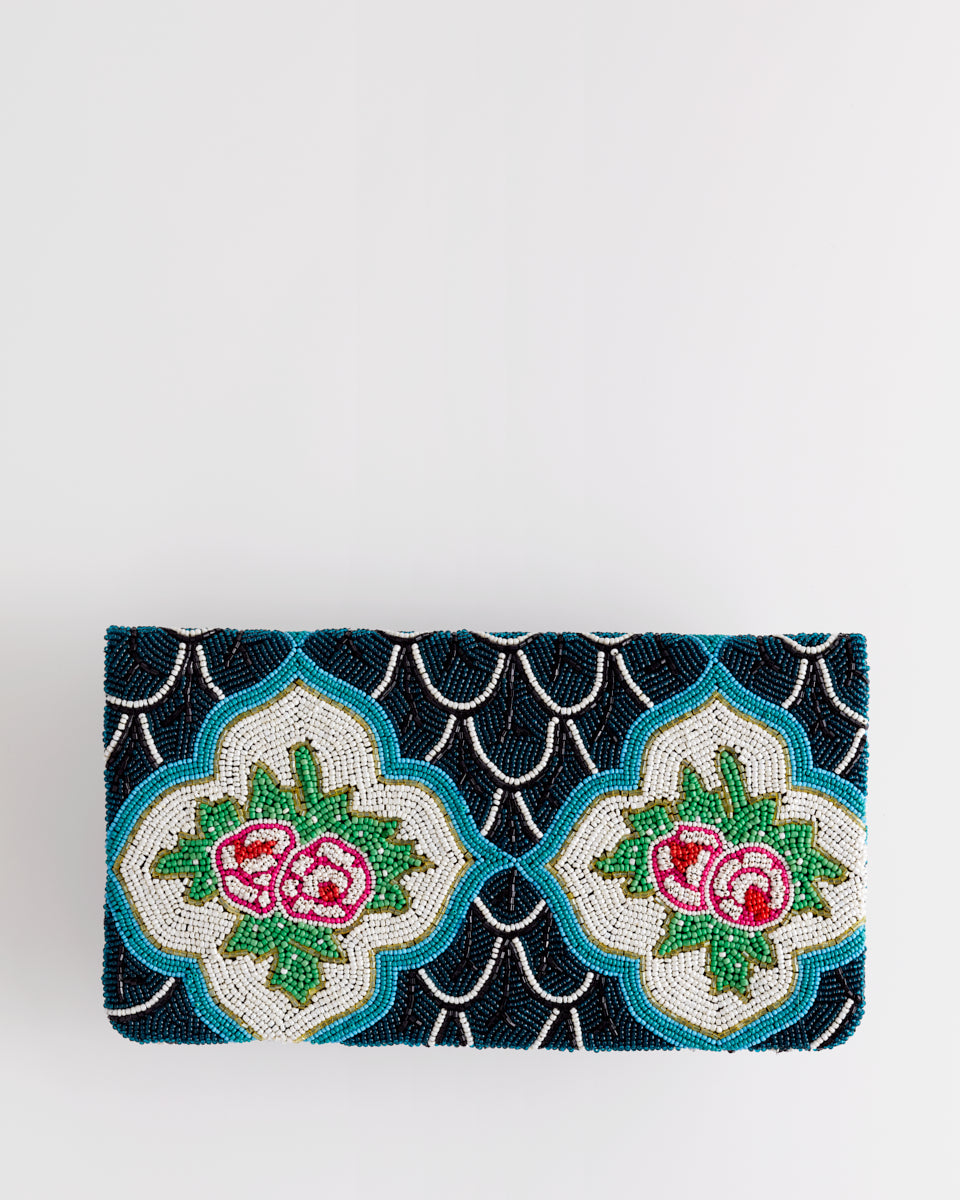 Handbeaded Clutch (Rosy Peranakan Walls)