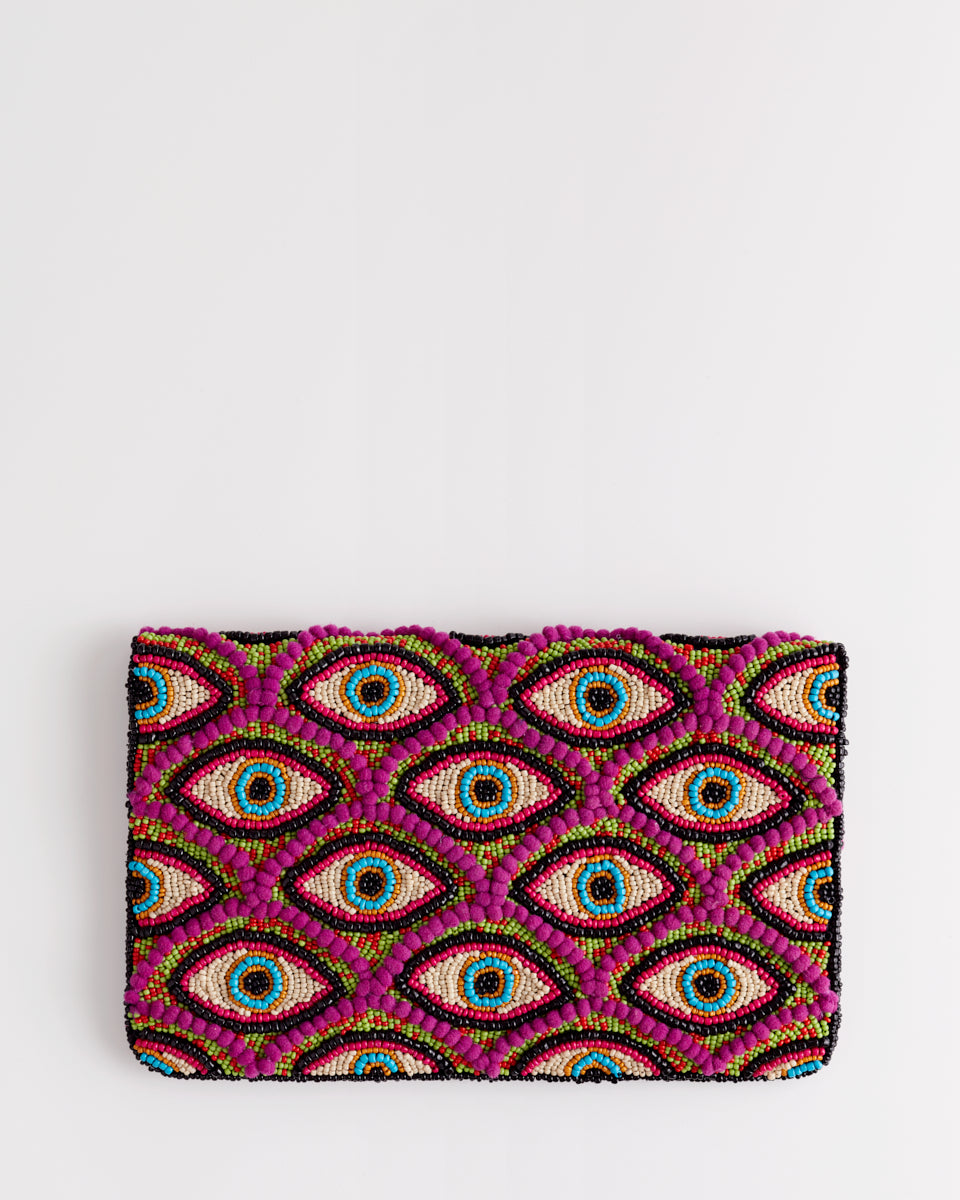 Handbeaded Clutch (I See you in Fuchsia)