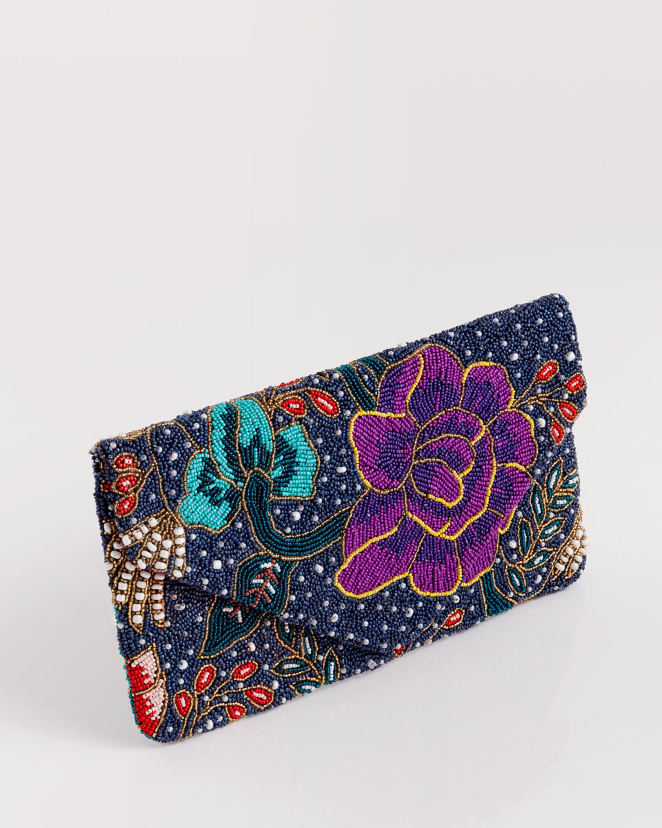 Handbeaded Clutch (Wear a Blue Baju)