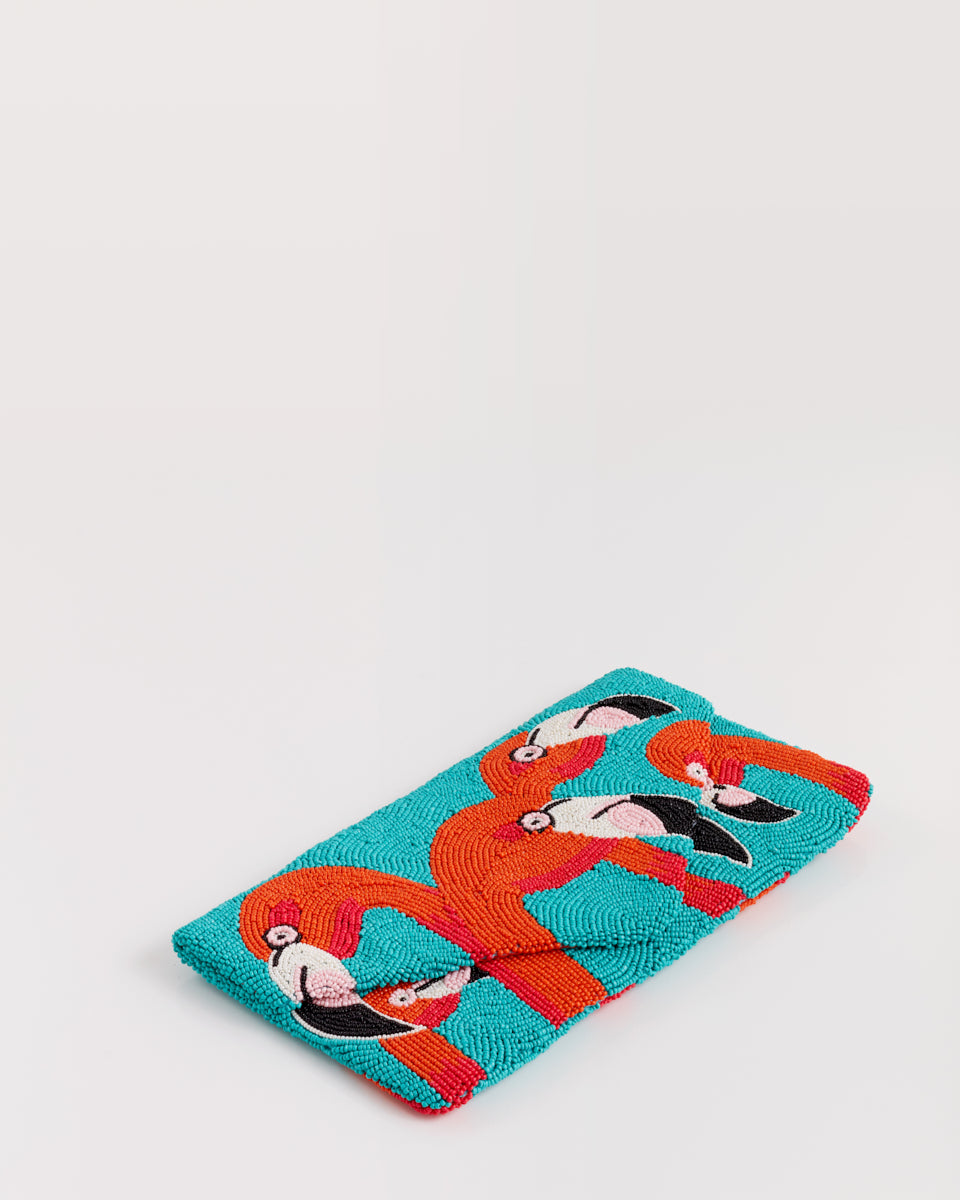 Handbeaded Clutch (Flamingo A-Go-Go in Turquoise)