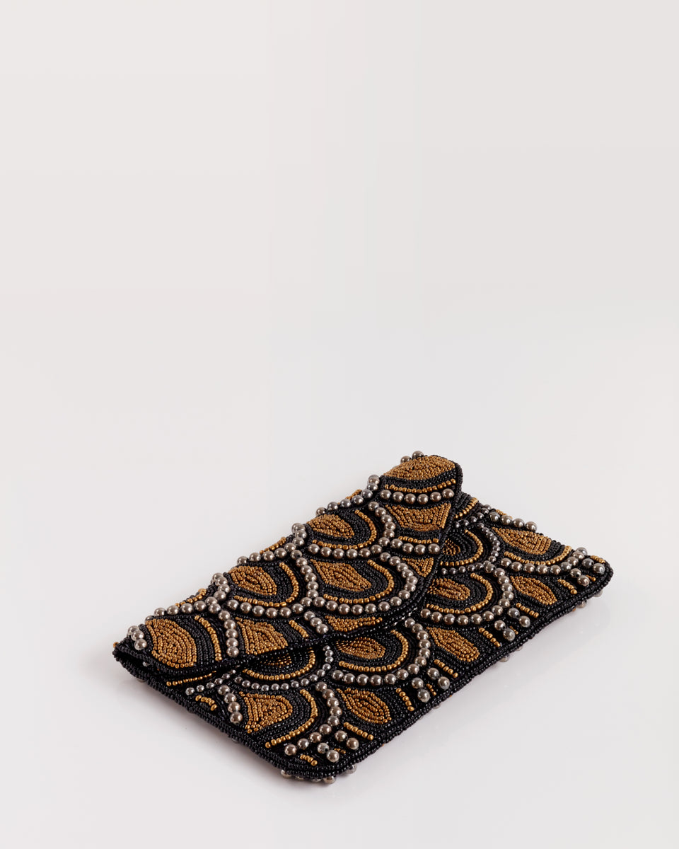 Handbeaded Clutch (Gold and Black Scalloped Wall)