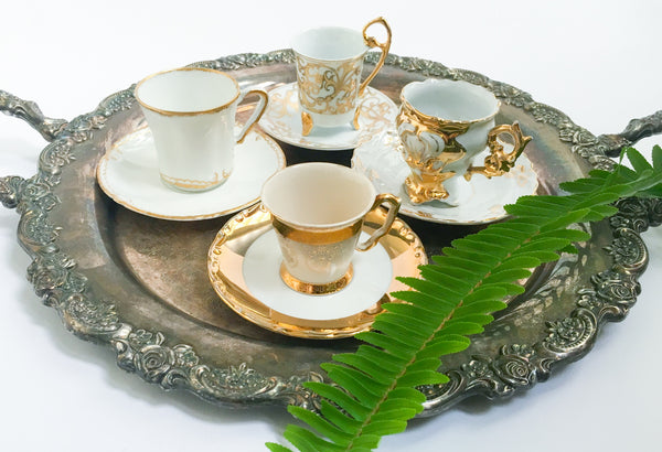 Vintage White & Gold Tea Set