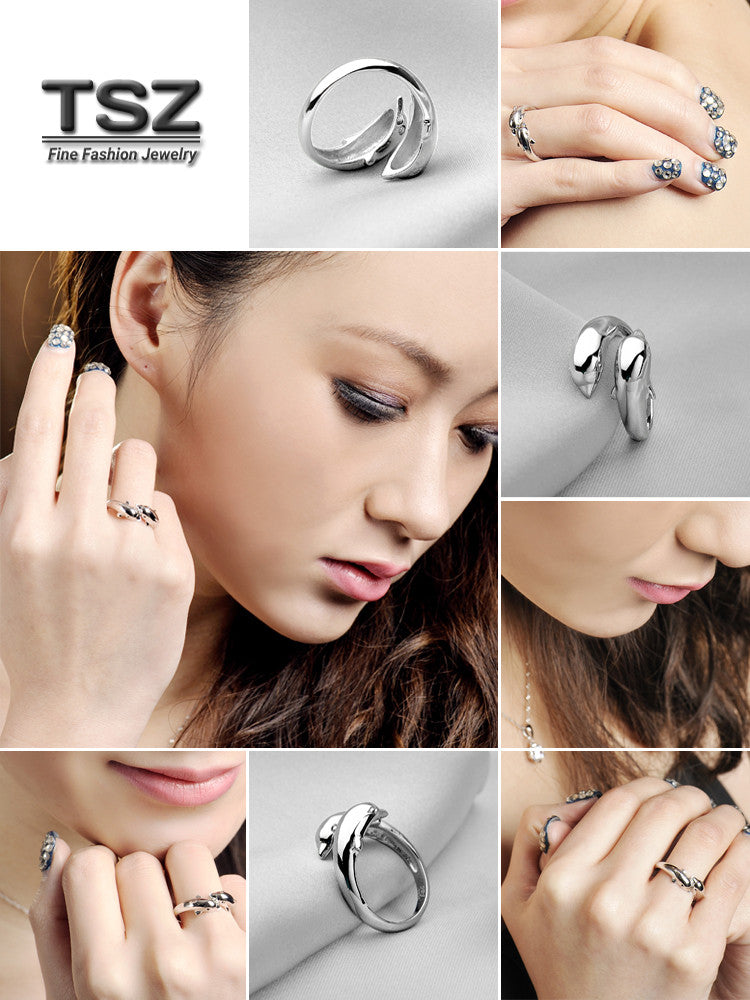 Sterling Silver Dolpins Adjustable Rings