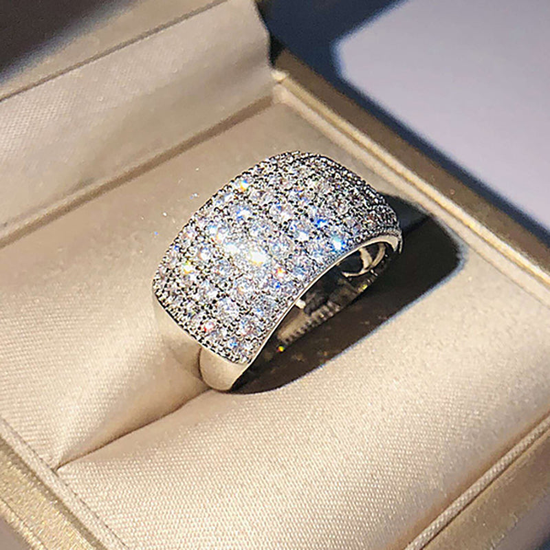 Cubic Zirconia 4-row Round-cut Eternity Band Ring