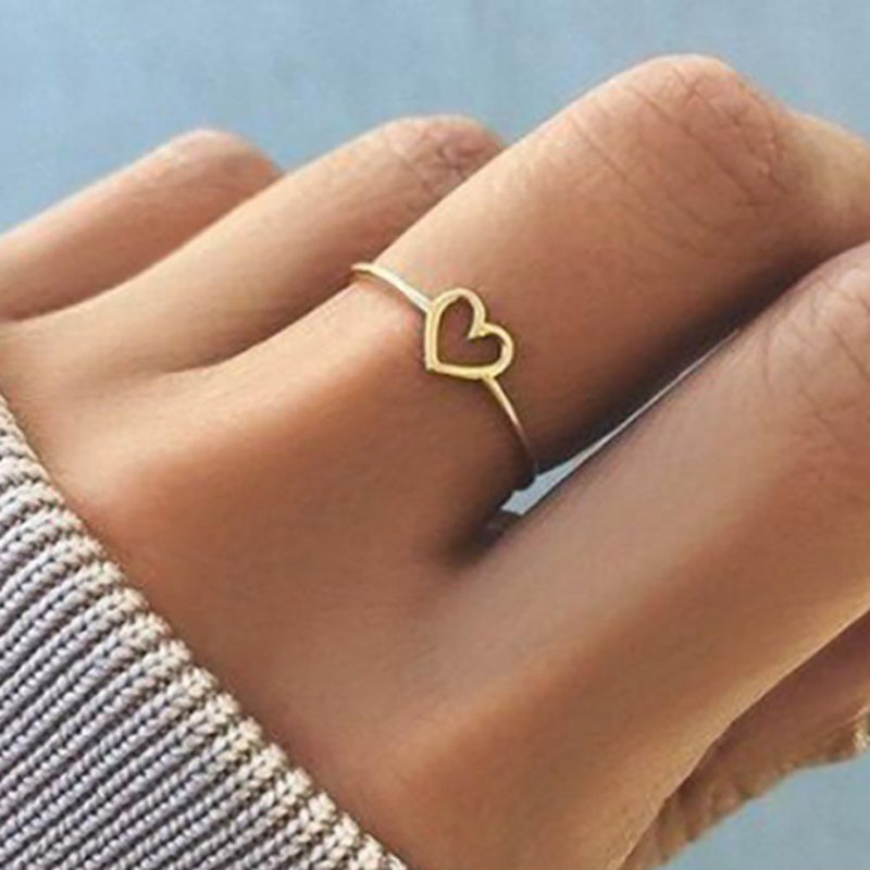 Silver Hollow-out Heart Shape Simplicity Ring For Girls