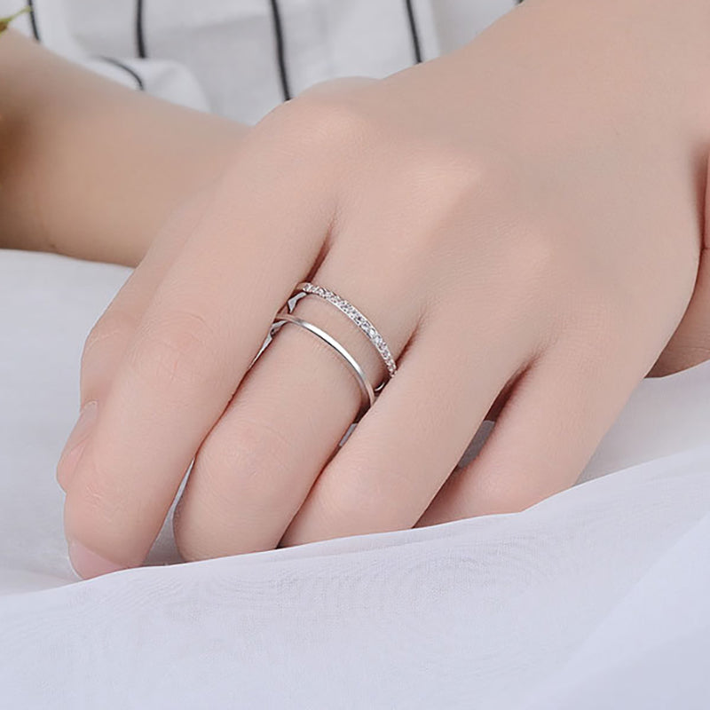 Double Row Different Design Silver Fashion Ring
