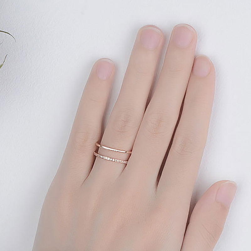 Double Row Different Design Rose Gold Fashion Ring