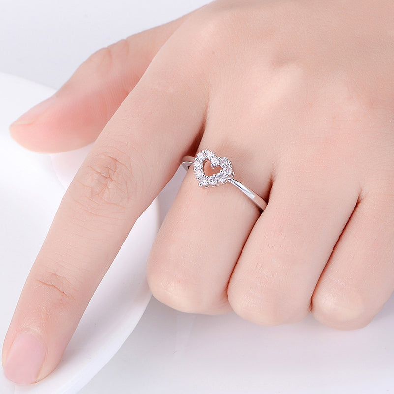 Silver Pave Cubic Zirconia Hollow-out Heart Ring