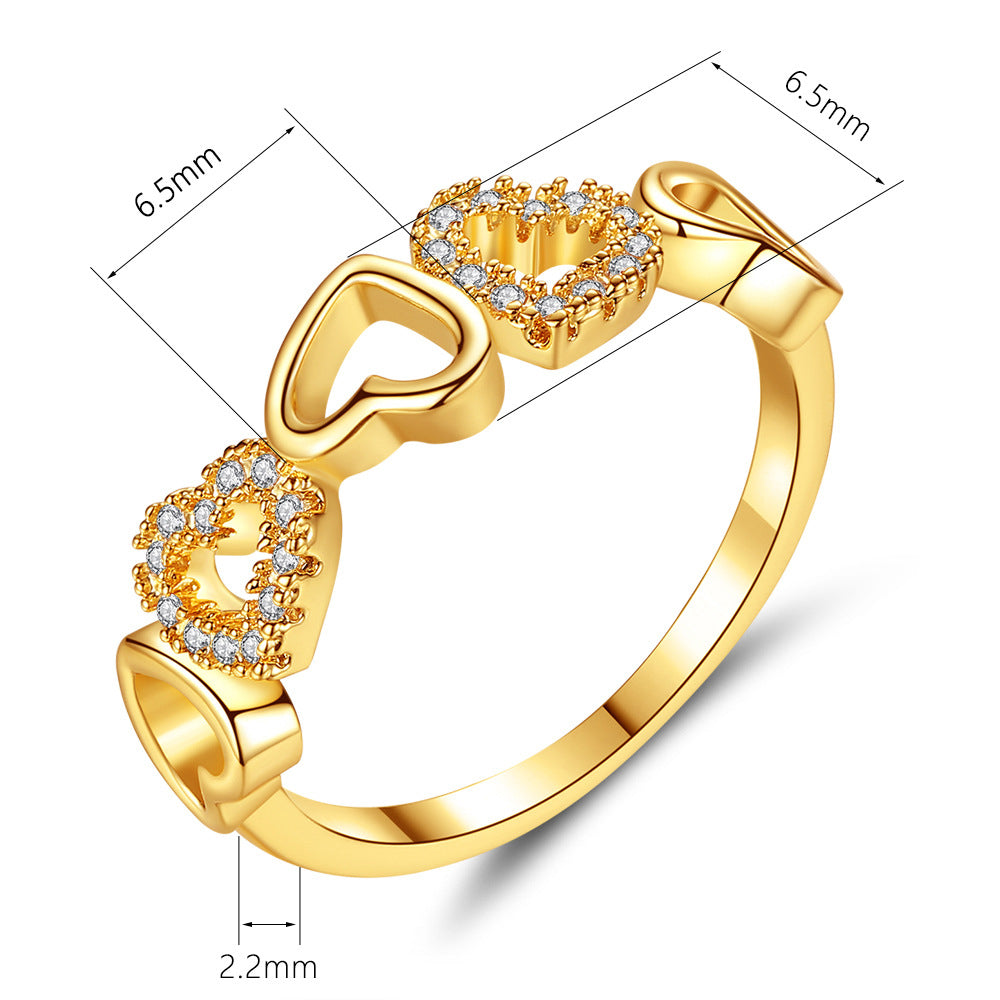 Different Style Gold Heart Stacked Fashion Ring
