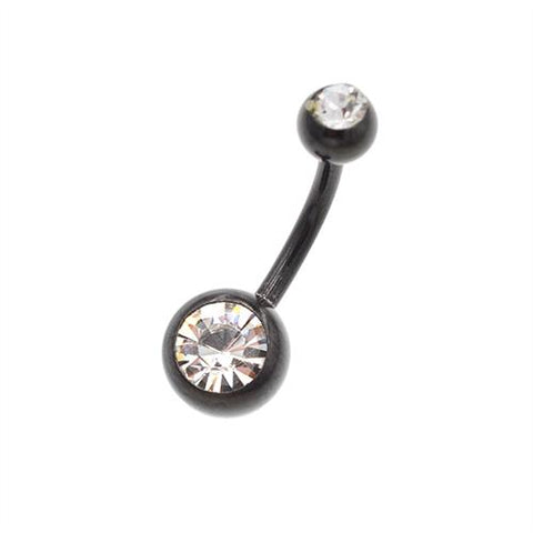 Crystaline Black Titanium Classic Belly Button Rings - TSZjewelry